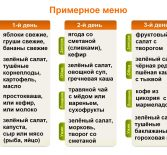 Примерное меню здорового питания